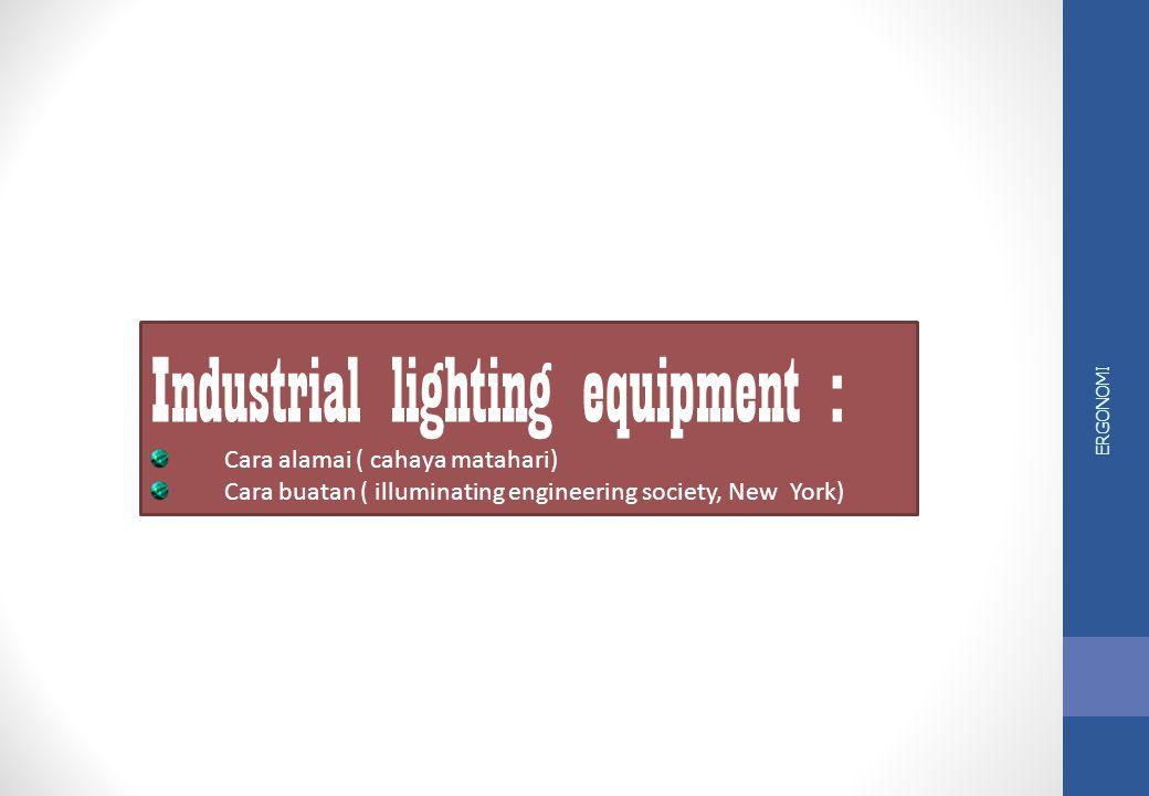 ERGONOMI Industrial Ligthing Equipment Pemilihan alat pencahayaan di industri : jenis cahaya yang digunakan untuk keperluan industri, dan jenis pekerj
