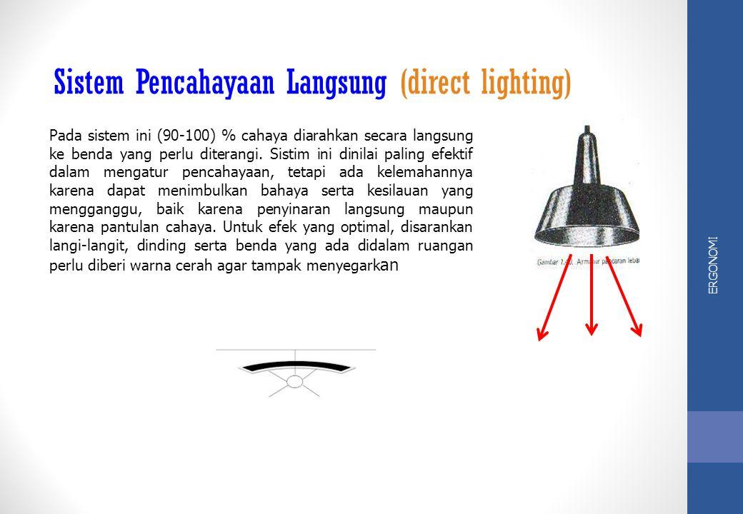 ERGONOMI Sistem pencahayaan di ruangan, termasuk di tempat kerja dapat dibedakan menjadi 5 macam yaitu:
