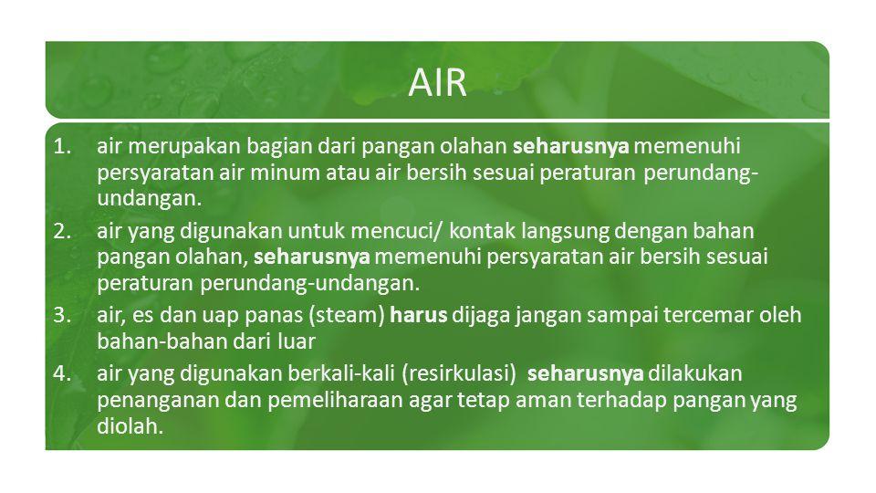 AIR 1.air merupakan bagian dari pangan olahan seharusnya memenuhi persyaratan air minum atau air bersih sesuai peraturan perundang- undangan. 2.air ya