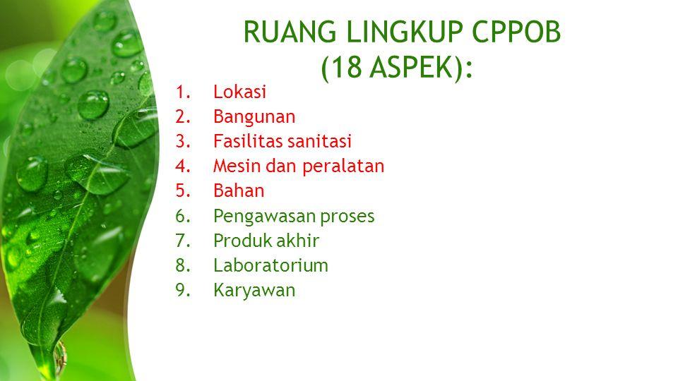 RUANG LINGKUP CPPOB (18 ASPEK): LANJUTAN.......10.