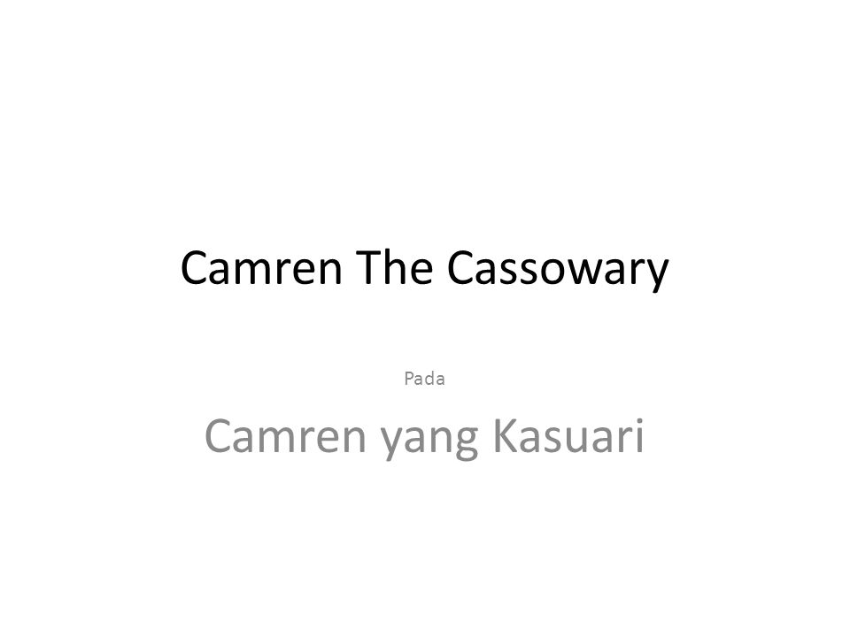 Camren the Cassowary ran around and around the forest, faster and faster he ran, worried about Camren his mum says slow down Camren, your going to hurt yourself but Camren kept on running.