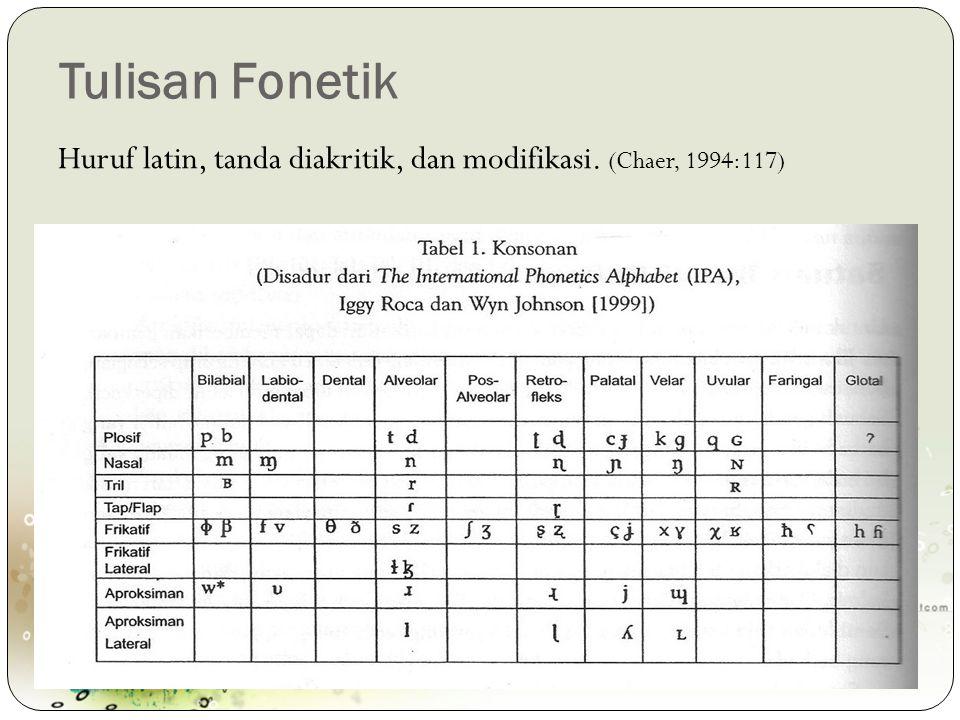 Tulisan Fonetik Huruf latin, tanda diakritik, dan modifikasi. (Chaer, 1994:117)