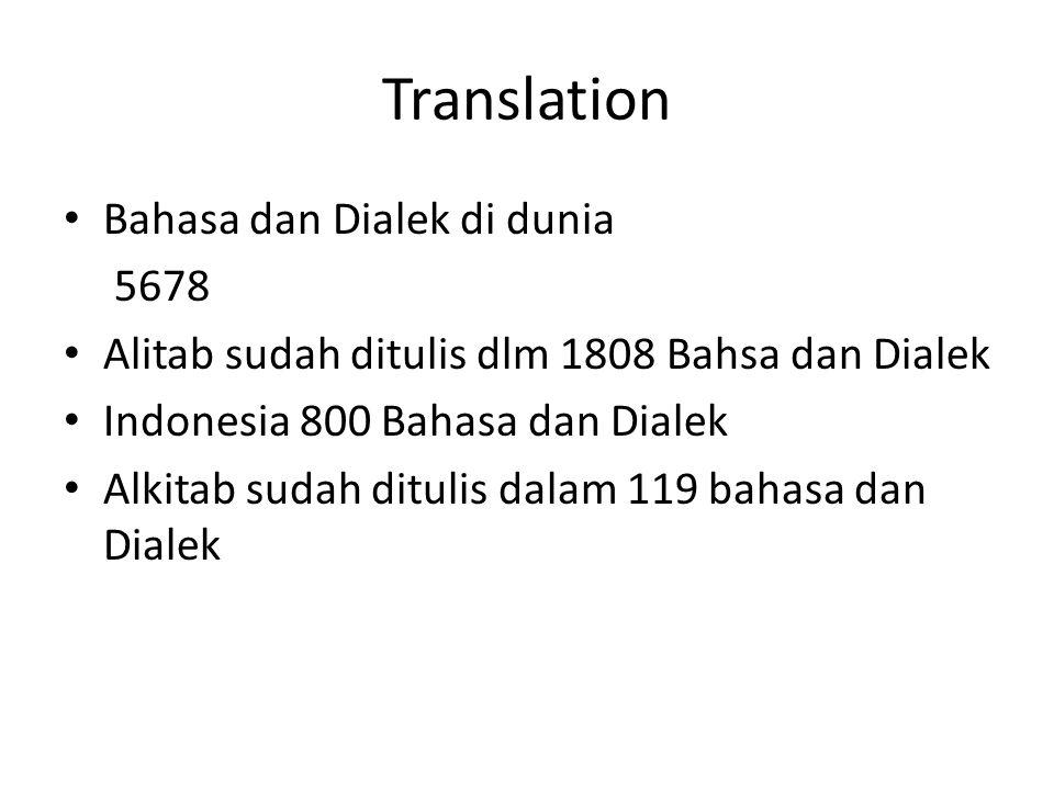 Translation Bahasa dan Dialek di dunia 5678 Alitab sudah ditulis dlm 1808 Bahsa dan Dialek Indonesia 800 Bahasa dan Dialek Alkitab sudah ditulis dalam