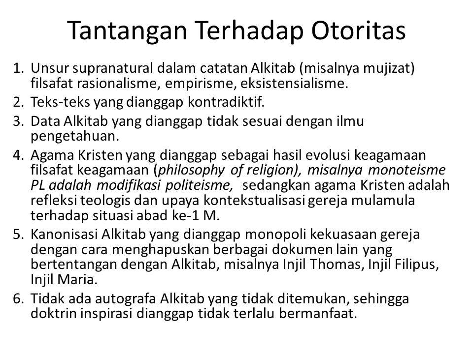 Tantangan Terhadap Otoritas 1. Unsur supranatural dalam catatan Alkitab (misalnya mujizat) filsafat rasionalisme, empirisme, eksistensialisme. 2. Teks