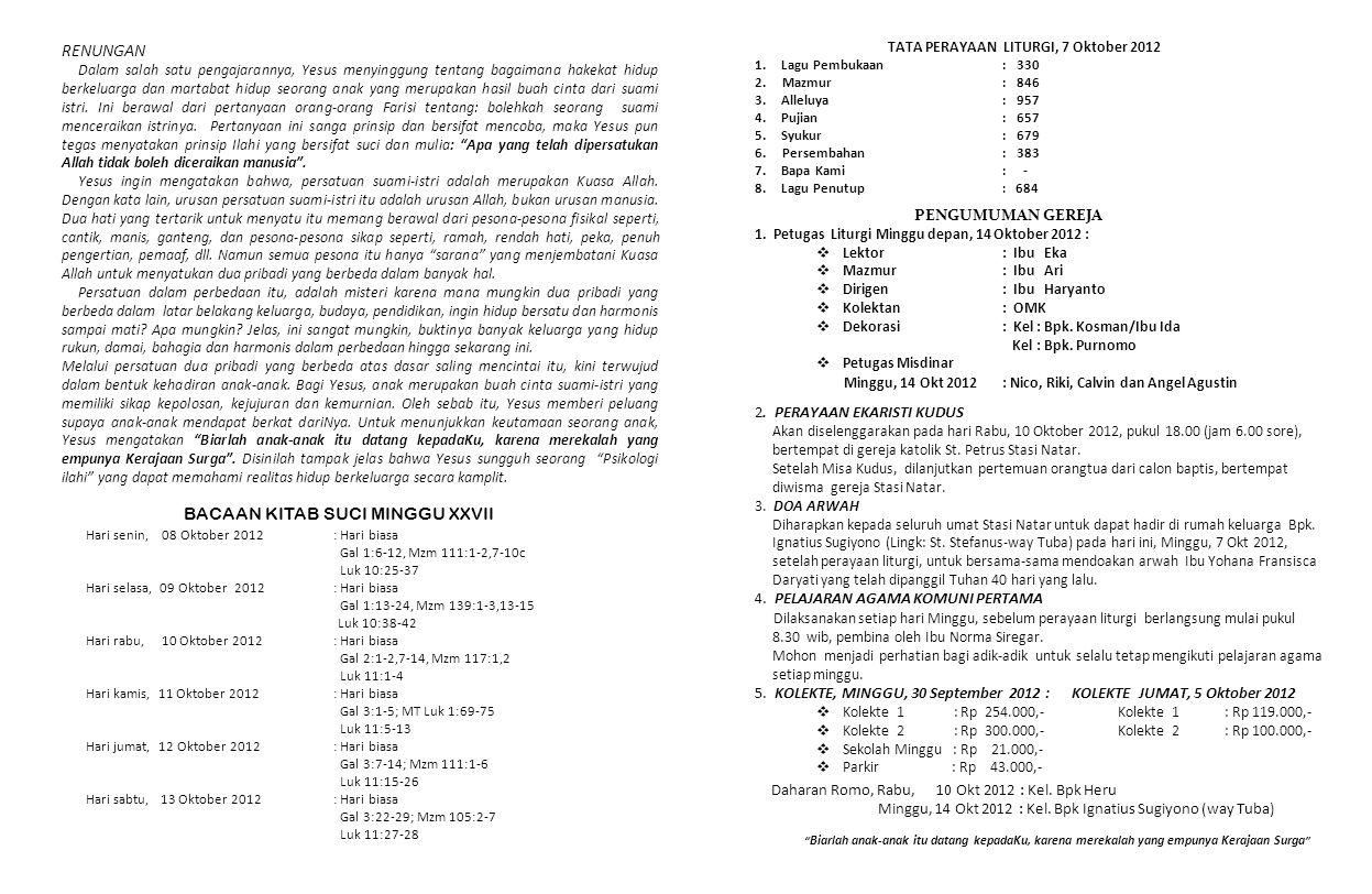 PENGUMUMAN GEREJA 1. Petugas Liturgi Minggu depan, 14 Oktober 2012 :  Lektor: Ibu Eka  Mazmur: Ibu Ari  Dirigen: Ibu Haryanto  Kolektan : OMK  De