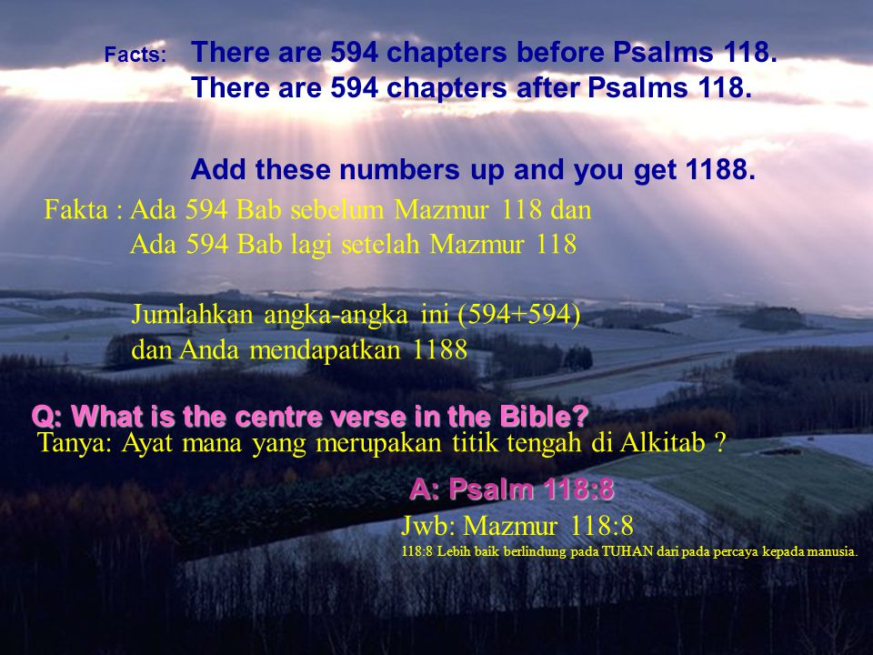 Facts: There are 594 chapters before Psalms 118. There are 594 chapters after Psalms 118. Add these numbers up and you get 1188. Q: What is the centre