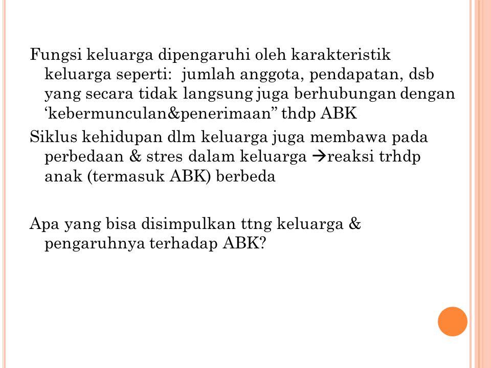 Beberapa reaksi keluarga (orangtua) terhadap ABK ?.
