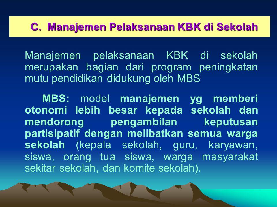C.Manajemen Pelaksanaan KBK di Sekolah C.