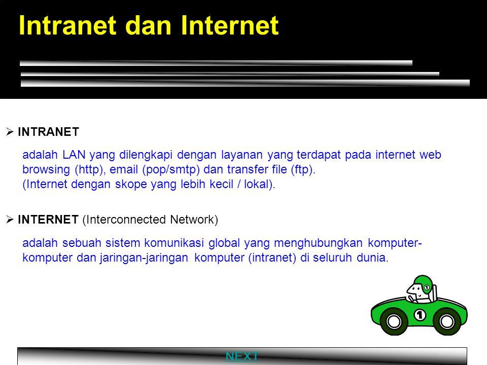 Intranet dan Internet adalah LAN yang dilengkapi dengan layanan yang terdapat pada internet web browsing (http), email (pop/smtp) dan transfer file (ftp).