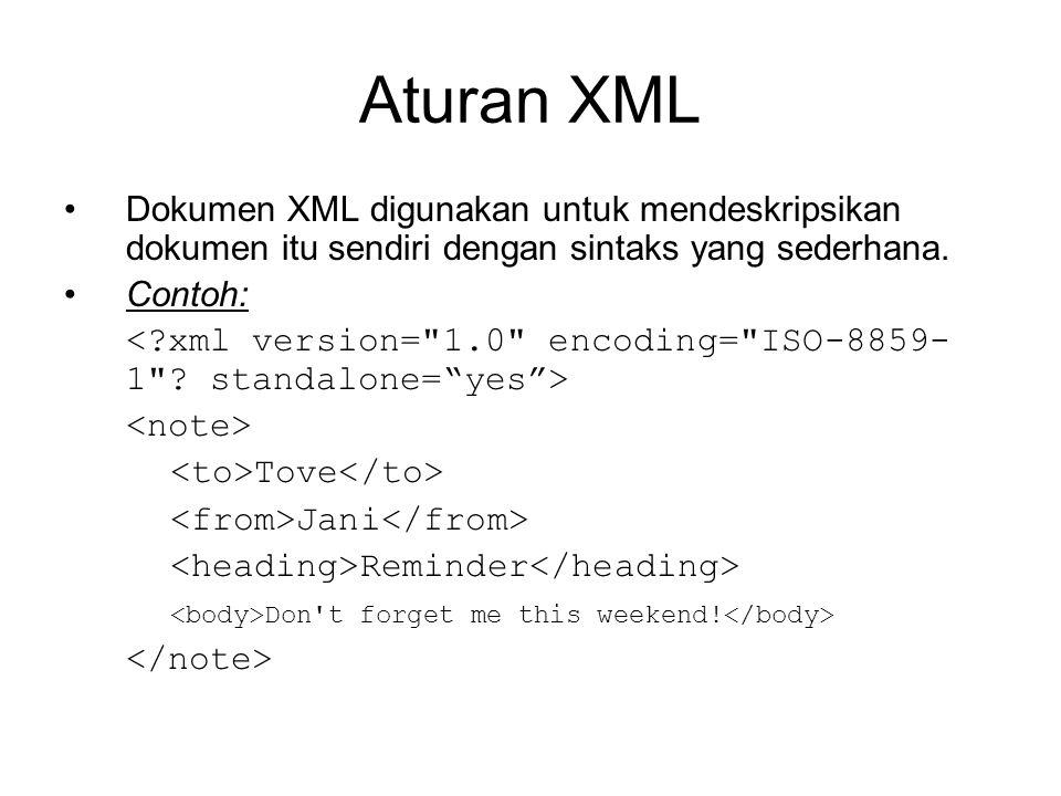 Aturan XML Dokumen XML digunakan untuk mendeskripsikan dokumen itu sendiri dengan sintaks yang sederhana. Contoh: Tove Jani Reminder Don't forget me t