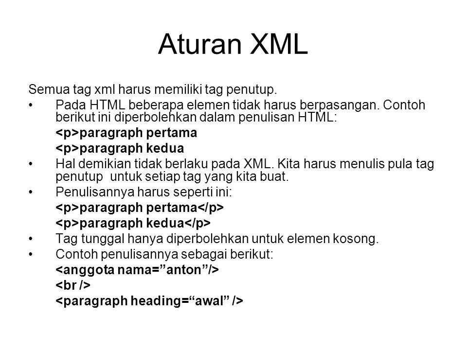 Aturan XML Semua tag xml harus memiliki tag penutup. Pada HTML beberapa elemen tidak harus berpasangan. Contoh berikut ini diperbolehkan dalam penulis