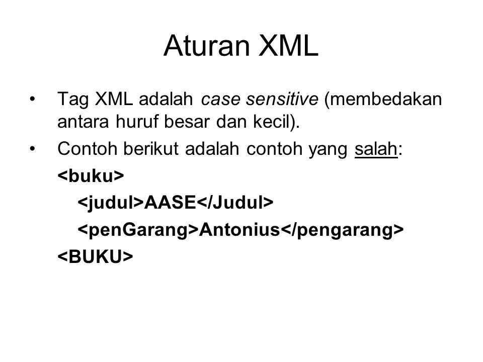 Aturan XML Tag XML adalah case sensitive (membedakan antara huruf besar dan kecil). Contoh berikut adalah contoh yang salah: AASE Antonius
