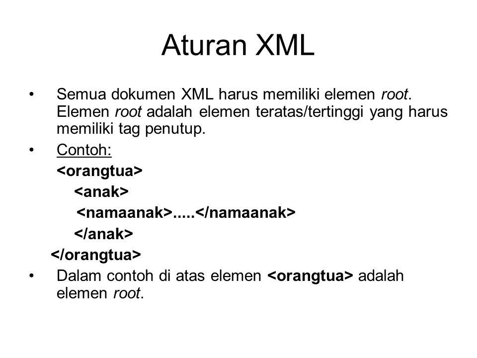 Aturan XML Semua dokumen XML harus memiliki elemen root. Elemen root adalah elemen teratas/tertinggi yang harus memiliki tag penutup. Contoh:..... Dal