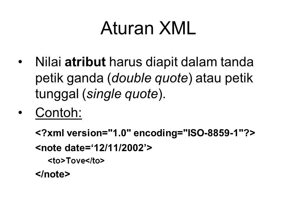 Aturan XML Nilai atribut harus diapit dalam tanda petik ganda (double quote) atau petik tunggal (single quote). Contoh: Tove