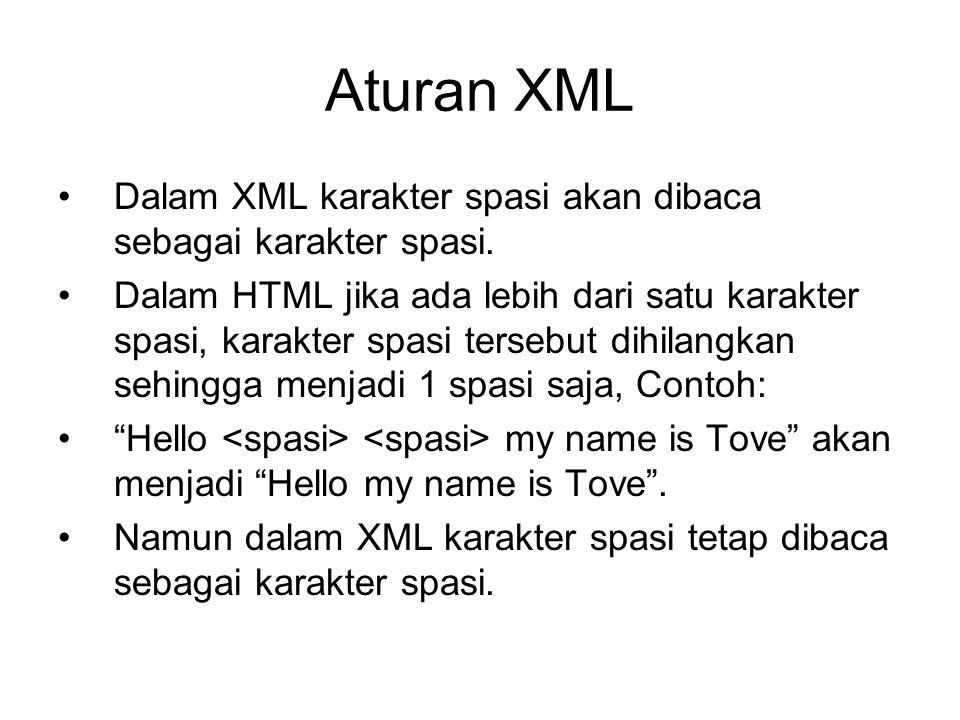 Aturan XML Dalam XML karakter spasi akan dibaca sebagai karakter spasi. Dalam HTML jika ada lebih dari satu karakter spasi, karakter spasi tersebut di