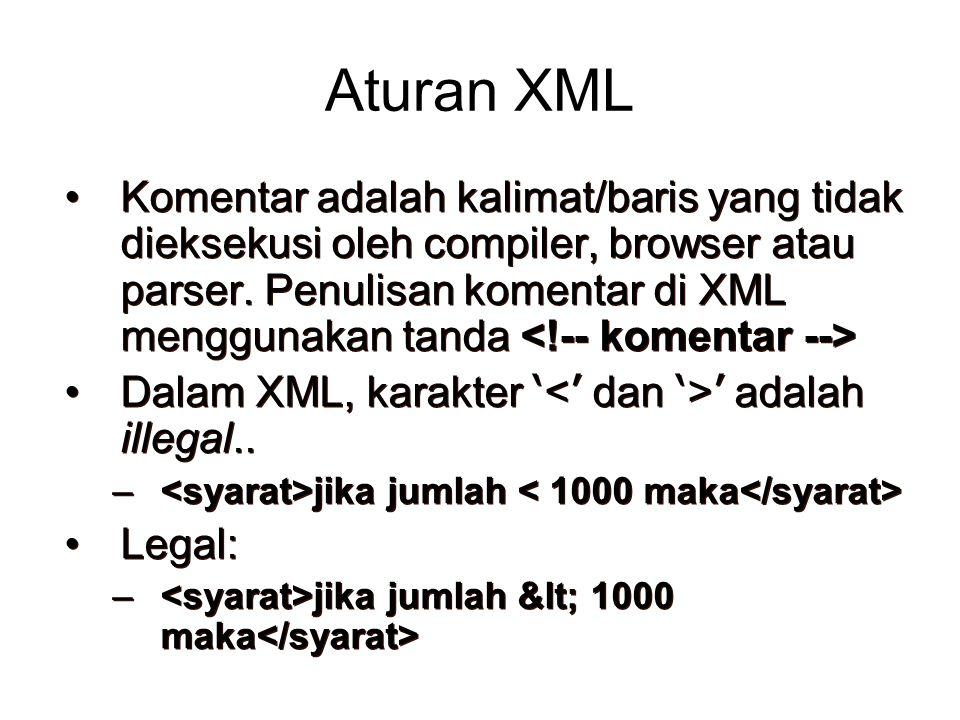 Aturan XML Komentar adalah kalimat/baris yang tidak dieksekusi oleh compiler, browser atau parser. Penulisan komentar di XML menggunakan tanda Dalam X