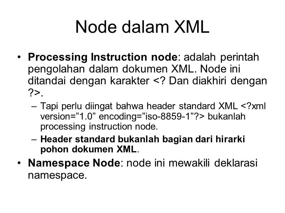 Node dalam XML Processing Instruction node: adalah perintah pengolahan dalam dokumen XML. Node ini ditandai dengan karakter. –Tapi perlu diingat bahwa