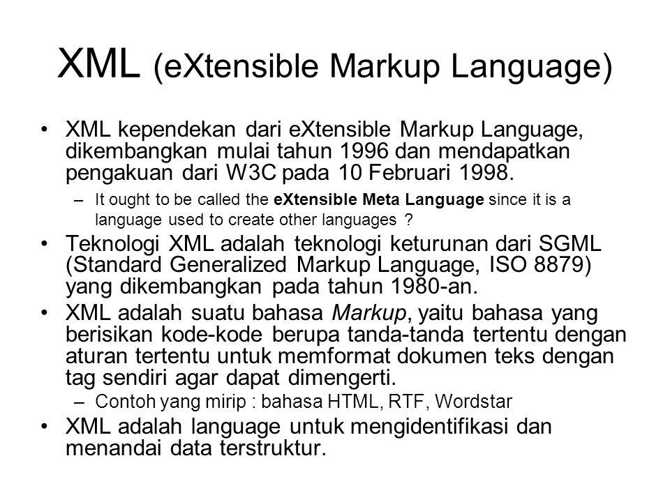 XML (eXtensible Markup Language) XML kependekan dari eXtensible Markup Language, dikembangkan mulai tahun 1996 dan mendapatkan pengakuan dari W3C pada