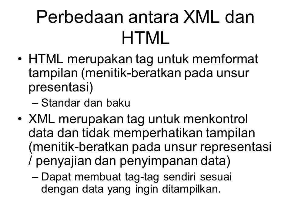 Perbedaan antara XML dan HTML HTML merupakan tag untuk memformat tampilan (menitik-beratkan pada unsur presentasi) –Standar dan baku XML merupakan tag