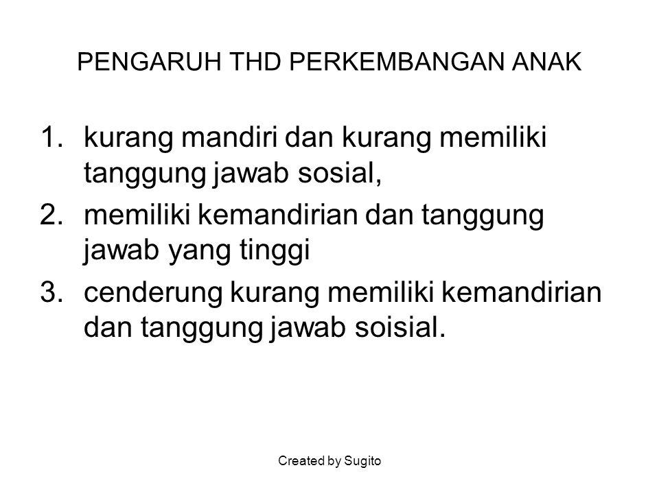 Created by Sugito PENGARUH THD PERKEMBANGAN ANAK 1.kurang mandiri dan kurang memiliki tanggung jawab sosial, 2.memiliki kemandirian dan tanggung jawab
