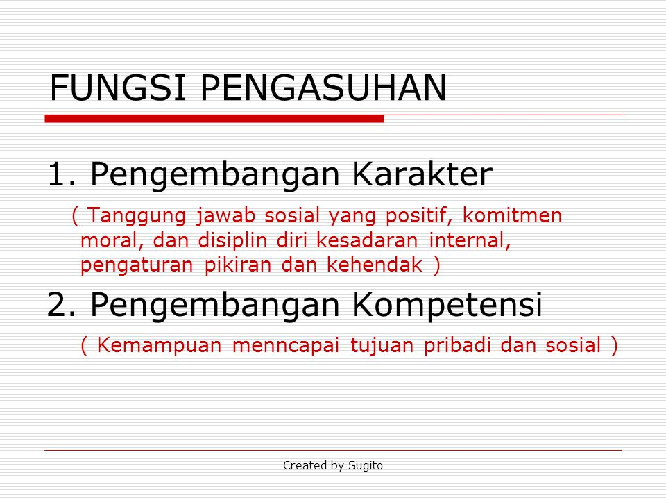 Created by Sugito PENGARUH THD PERKEMBANGAN ANAK 1.kurang mandiri dan kurang memiliki tanggung jawab sosial, 2.memiliki kemandirian dan tanggung jawab yang tinggi 3.cenderung kurang memiliki kemandirian dan tanggung jawab soisial.