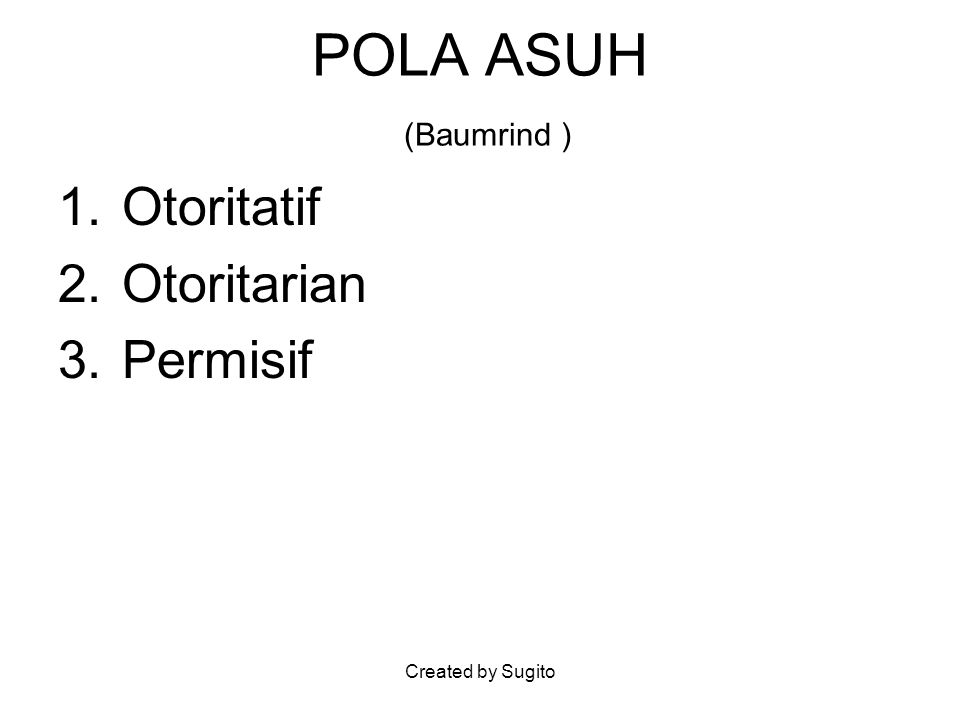 Created by Sugito POLA ASUH (Baumrind ) 1.Otoritatif 2.Otoritarian 3.Permisif