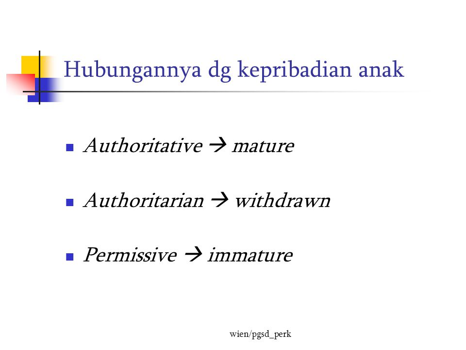 Hubungannya dg kepribadian anak Authoritative  mature Authoritarian  withdrawn Permissive  immature wien/pgsd_perk