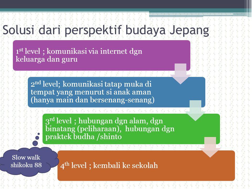 Solusi dari perspektif budaya Jepang 1 st level ; komunikasi via internet dgn keluarga dan guru 2 nd level; komunikasi tatap muka di tempat yang menur