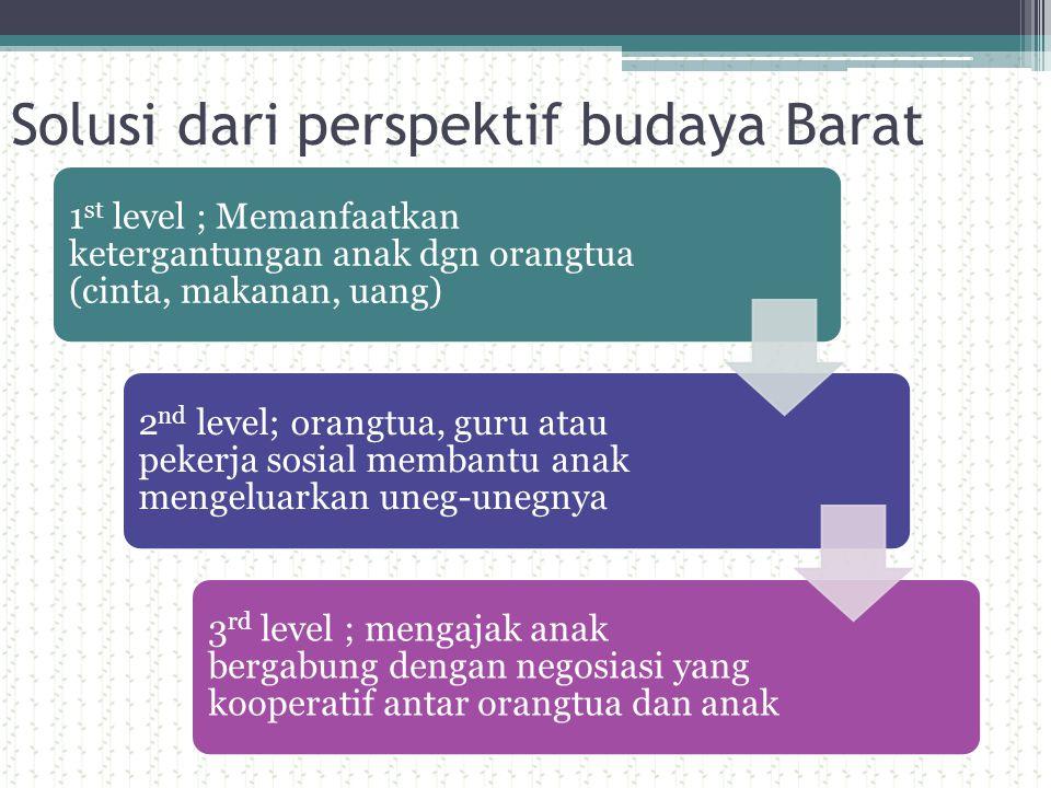 Solusi dari perspektif budaya Barat 1 st level ; Memanfaatkan ketergantungan anak dgn orangtua (cinta, makanan, uang) 2 nd level; orangtua, guru atau