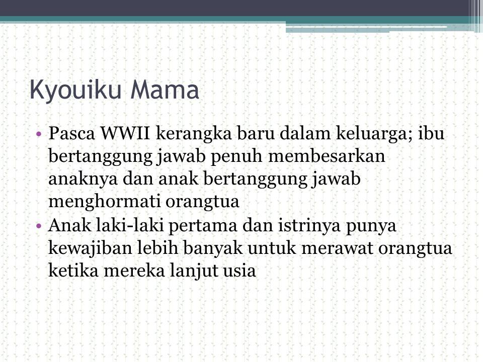 Kyouiku Mama Pasca WWII kerangka baru dalam keluarga; ibu bertanggung jawab penuh membesarkan anaknya dan anak bertanggung jawab menghormati orangtua