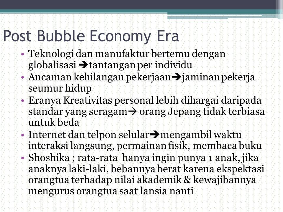 Post Bubble Economy Era Teknologi dan manufaktur bertemu dengan globalisasi  tantangan per individu Ancaman kehilangan pekerjaan  jaminan pekerja se