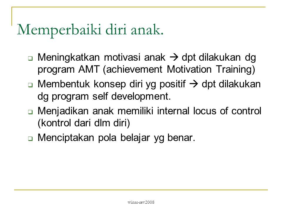 winsr-rev2008 Memperbaiki diri anak.  Meningkatkan motivasi anak  dpt dilakukan dg program AMT (achievement Motivation Training)  Membentuk konsep
