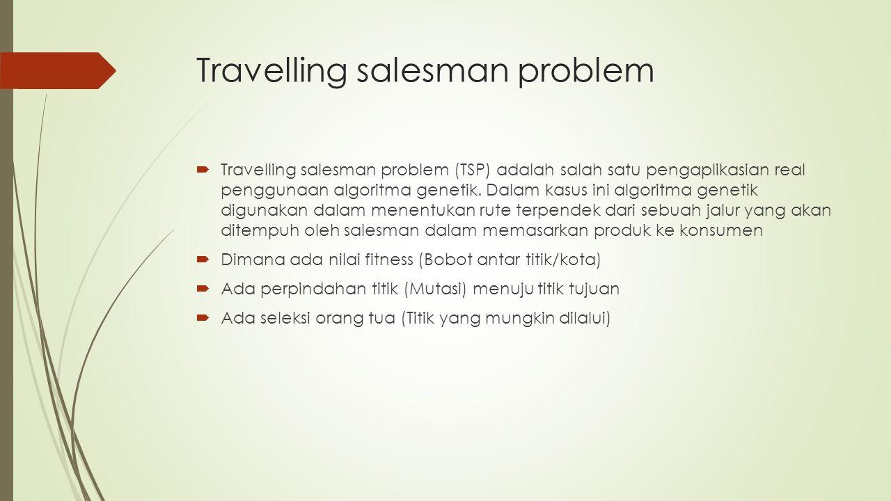 Travelling salesman problem  Travelling salesman problem (TSP) adalah salah satu pengaplikasian real penggunaan algoritma genetik. Dalam kasus ini al