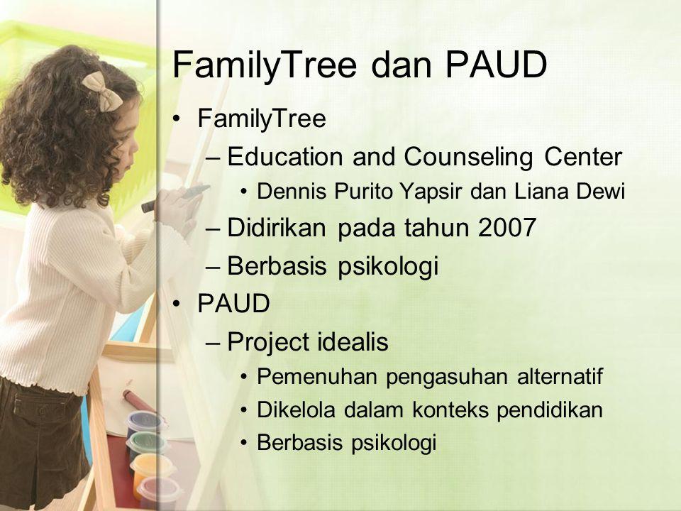 FamilyTree dan PAUD FamilyTree –Education and Counseling Center Dennis Purito Yapsir dan Liana Dewi –Didirikan pada tahun 2007 –Berbasis psikologi PAUD –Project idealis Pemenuhan pengasuhan alternatif Dikelola dalam konteks pendidikan Berbasis psikologi