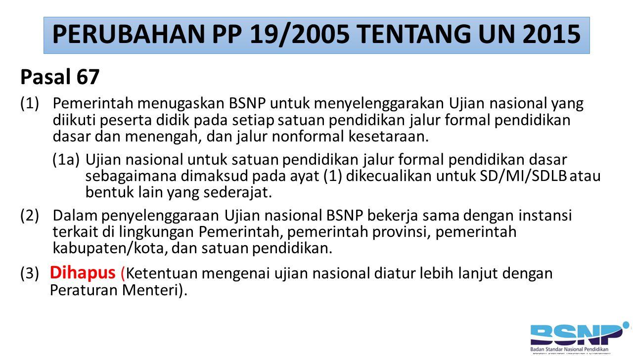 Pasal 67 (1) Pemerintah menugaskan BSNP untuk menyelenggarakan Ujian nasional yang diikuti peserta didik pada setiap satuan pendidikan jalur formal pe
