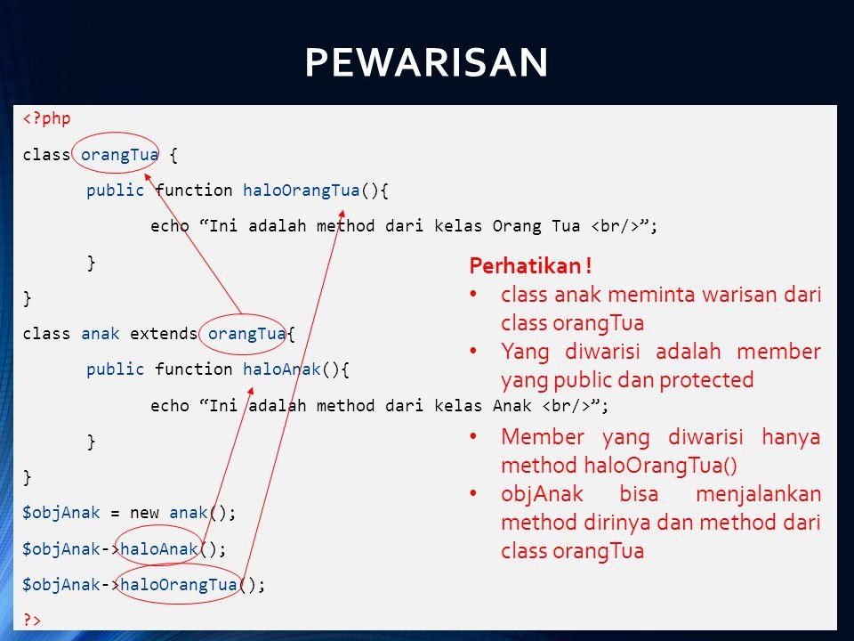"PEWARISAN <?php class orangTua { public function haloOrangTua(){ echo ""Ini adalah method dari kelas Orang Tua ""; } class anak extends orangTua{ public"