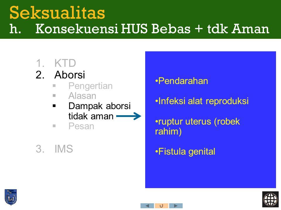 1.KTD 2.Aborsi  Pengertian  Alasan  Dampak aborsi tidak aman  Pesan 3.IMS Seksualitas h. Konsekuensi HUS Bebas + tdk Aman Pendarahan Infeksi alat