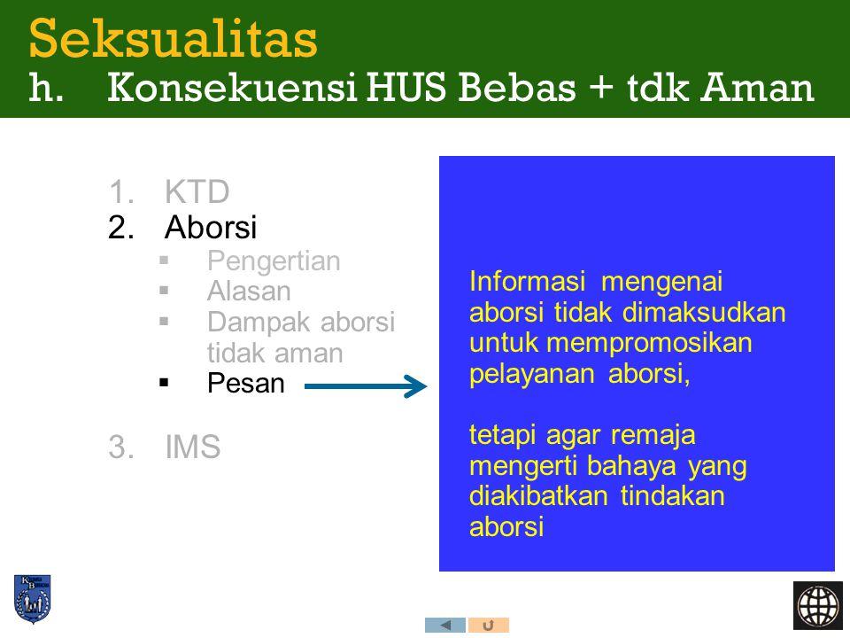 1.KTD 2.Aborsi  Pengertian  Alasan  Dampak aborsi tidak aman  Pesan 3.IMS Seksualitas h. Konsekuensi HUS Bebas + tdk Aman Informasi mengenai abors