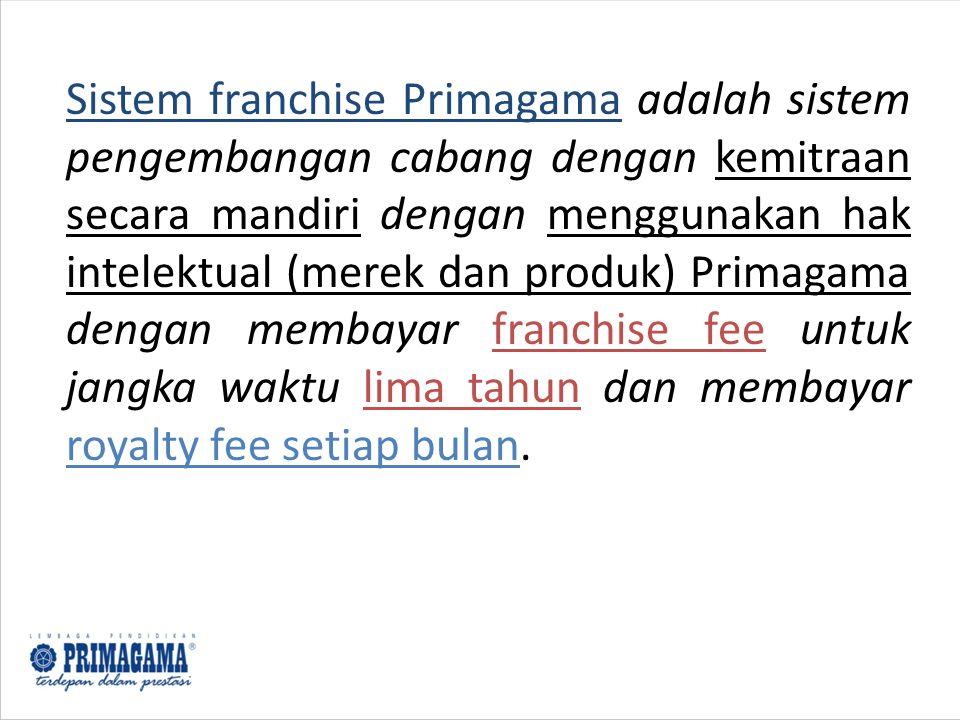 Sistem franchise Primagama adalah sistem pengembangan cabang dengan kemitraan secara mandiri dengan menggunakan hak intelektual (merek dan produk) Pri