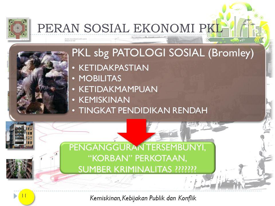 Kemiskinan, Kebijakan Publik dan Konflik PERAN SOSIAL EKONOMI PKL 11 PKL sbg PATOLOGI SOSIAL (Bromley) KETIDAKPASTIAN MOBILITAS KETIDAKMAMPUAN KEMISKI