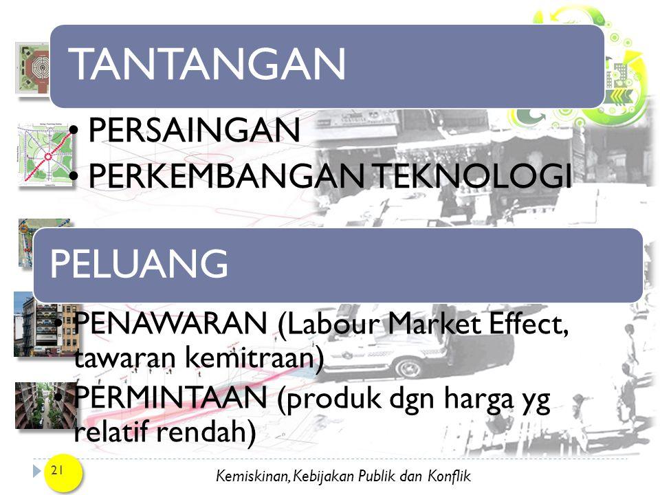 Kemiskinan, Kebijakan Publik dan Konflik 21 TANTANGAN PERSAINGAN PERKEMBANGAN TEKNOLOGI PELUANG PENAWARAN (Labour Market Effect, tawaran kemitraan) PE
