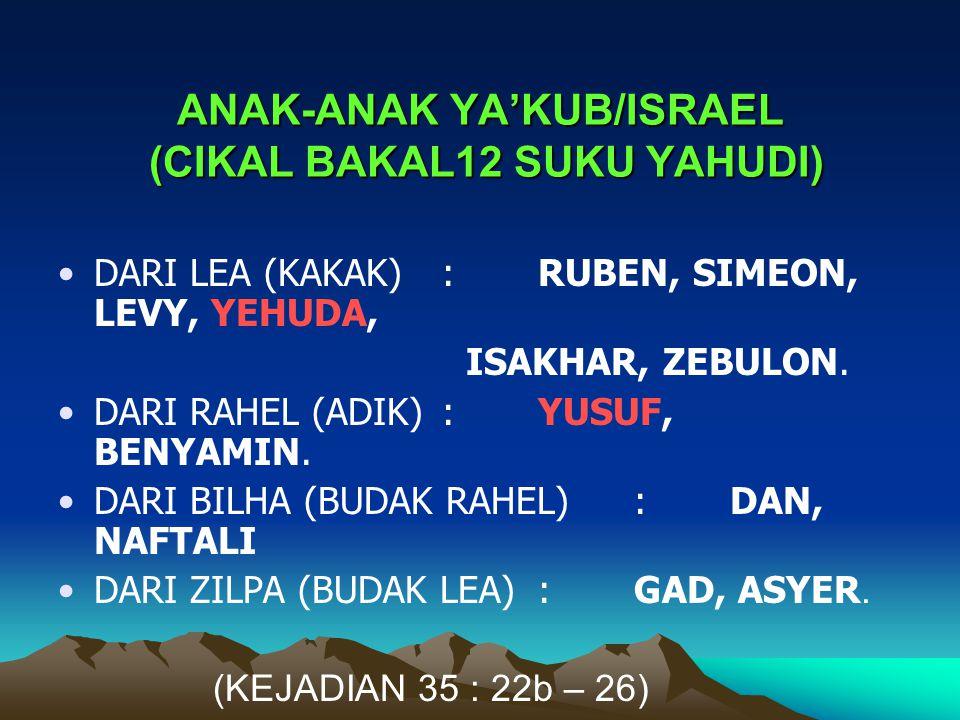ANAK-ANAK YA'KUB/ISRAEL (CIKAL BAKAL12 SUKU YAHUDI) DARI LEA (KAKAK) : RUBEN, SIMEON, LEVY, YEHUDA, ISAKHAR, ZEBULON. DARI RAHEL (ADIK) : YUSUF, BENYA