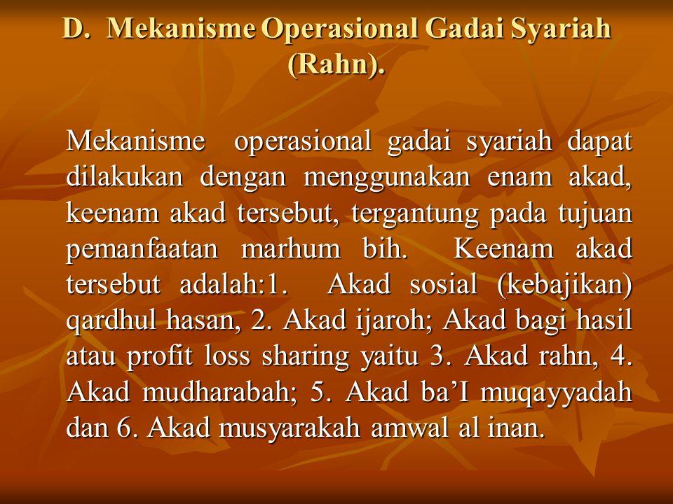 D. Mekanisme Operasional Gadai Syariah (Rahn). Mekanisme operasional gadai syariah dapat dilakukan dengan menggunakan enam akad, keenam akad tersebut,