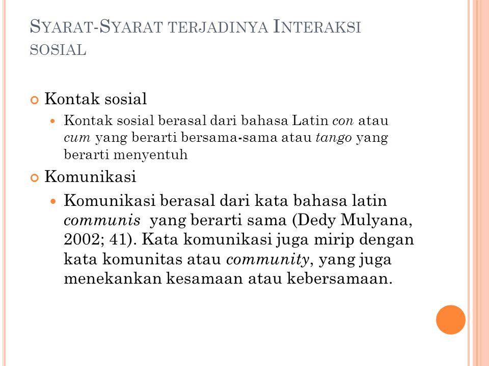 K ONTAK SOSIAL Kontak sosial tergantung tindakan dan tanggapan terhadap tindakan itu.