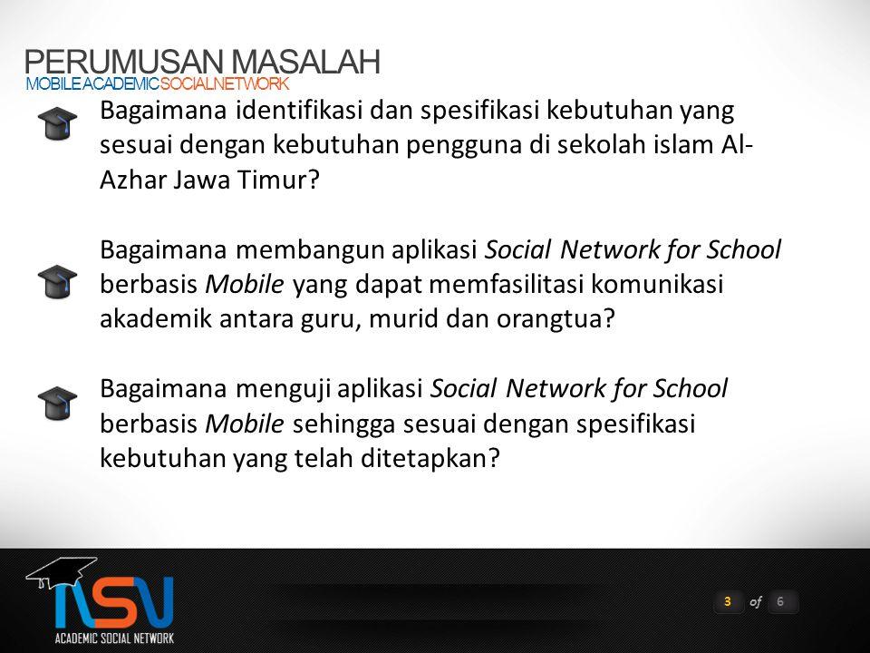 PERUMUSAN MASALAH MOBILE ACADEMIC SOCIAL NETWORK 3of6 Bagaimana identifikasi dan spesifikasi kebutuhan yang sesuai dengan kebutuhan pengguna di sekola