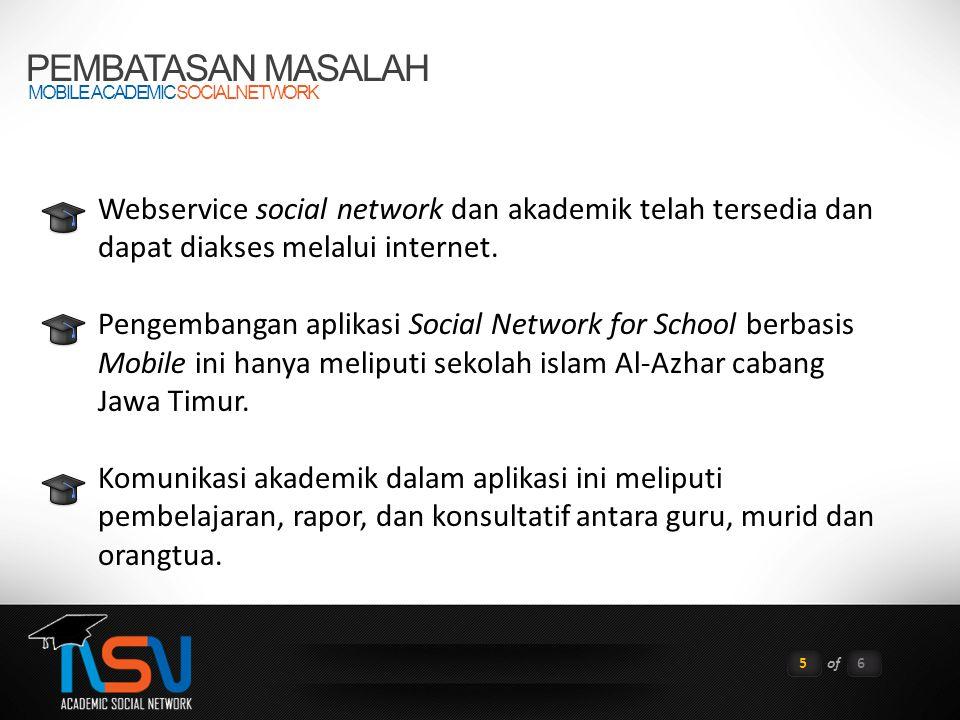 PEMBATASAN MASALAH MOBILE ACADEMIC SOCIAL NETWORK 5of6 Webservice social network dan akademik telah tersedia dan dapat diakses melalui internet.