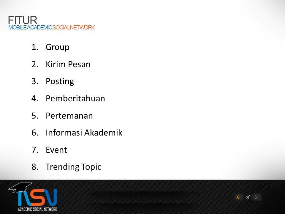 FITUR MOBILE ACADEMIC SOCIAL NETWORK 8of6 1.Group 2.Kirim Pesan 3.Posting 4.Pemberitahuan 5.Pertemanan 6.Informasi Akademik 7.Event 8.Trending Topic