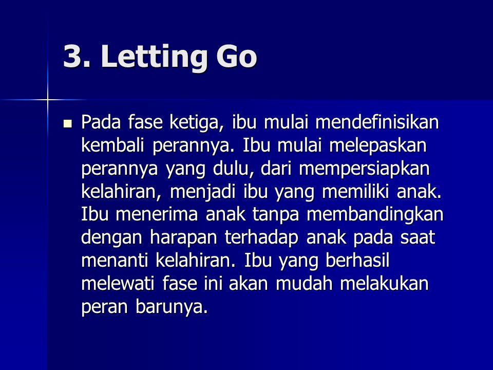 3. Letting Go Pada fase ketiga, ibu mulai mendefinisikan kembali perannya. Ibu mulai melepaskan perannya yang dulu, dari mempersiapkan kelahiran, menj