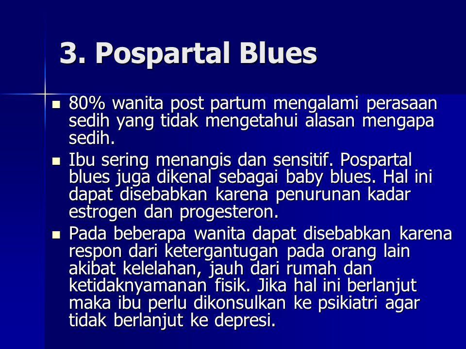 3. Pospartal Blues 80% wanita post partum mengalami perasaan sedih yang tidak mengetahui alasan mengapa sedih. 80% wanita post partum mengalami perasa