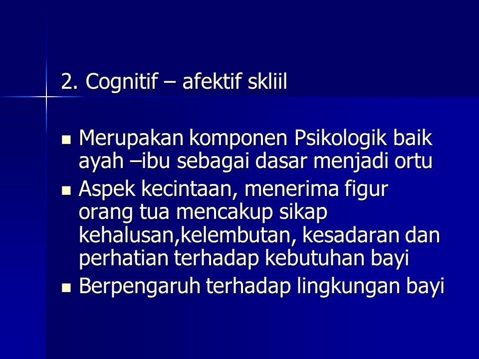 2. Cognitif – afektif skliil Merupakan komponen Psikologik baik ayah –ibu sebagai dasar menjadi ortu Merupakan komponen Psikologik baik ayah –ibu seba